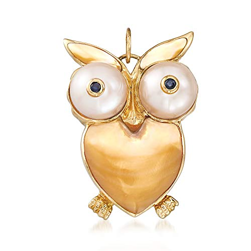(Ross-Simons Mother-Of-Pearl and Cultured Pearl Owl Pendant With Sapphire Accents in 14kt Yellow)