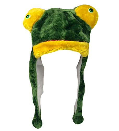 Plush Fun Animal Beanie Hat - One Size (Older Kids & Adults) - Polyester w/Fleece Lining (Frog)