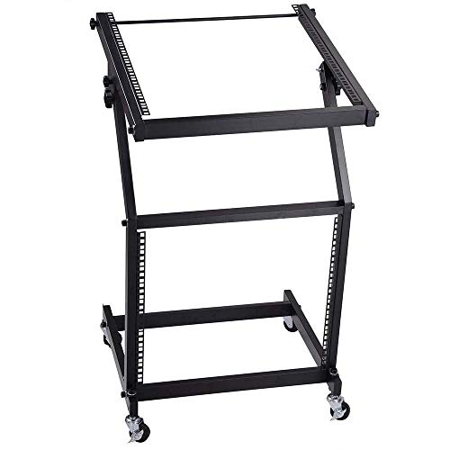 Mobile Dj Club Mixer - Selva DJ Mixer Platform Stand with Caster Wheel 19 Inches |Portable Mobile 9U Space Rack Mountable Slant Height Adjustable Heavy Duty Steel Made | Professional Commercial for Club House Bar College