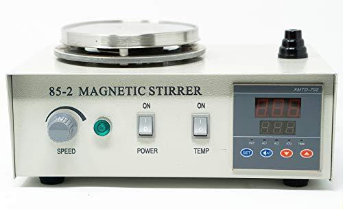 EK-85-2 Digital Magnetic Stirrer Heating Hot Plate Set | 100-2400 RPM Stir Speed | RT - 100 °C Temp | 300 W Heat Power | 3000ml Max Capacity | Plate: 12.25 x 12.25 cm| Incl 5 Magnetic Stir Bars