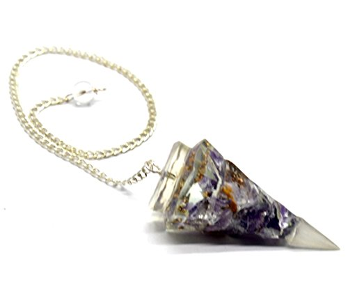 Healing Crystals India Natural Reiki Metaphysical Amethyst Orgone Cone Shaped Divination Dowsing Pendulum w/Chain
