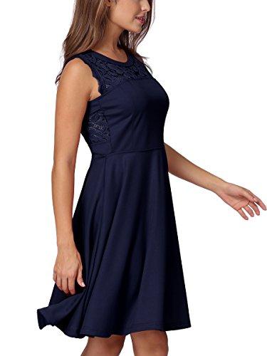 Evening Dress Mixfeer Pleated Cocktail Party Blue Neck Round Sleeveless Dress Women's Line A Lace Dark rwAq7rRWf