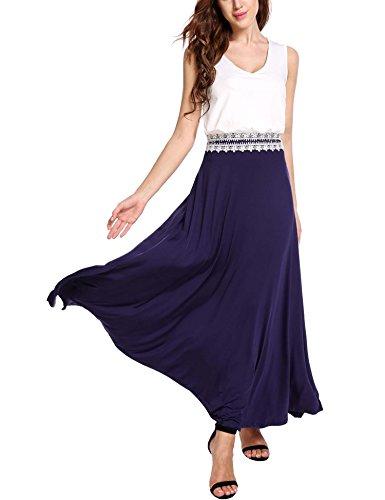 SE MIU Women's Spring Sleeveless Cotton Tank Top Maxi Casual Dress, Purple, XL