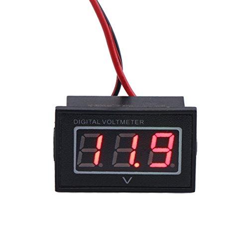 DROK 056 Waterproof DC 15-120V Digital Voltmeter Voltage Measurement Gauge Red LED Panel Volt Meters