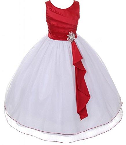 AkiDress Satin & Tulle Sleeveless Flower Girl Dress with Rhinestone Pendant Red-White 4-14