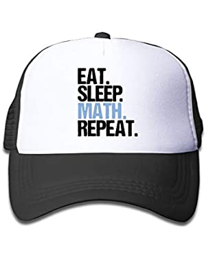 Eat Sleep Math Repeat-1 On Kids Trucker Hat, Youth Toddler Mesh Hats Baseball Cap