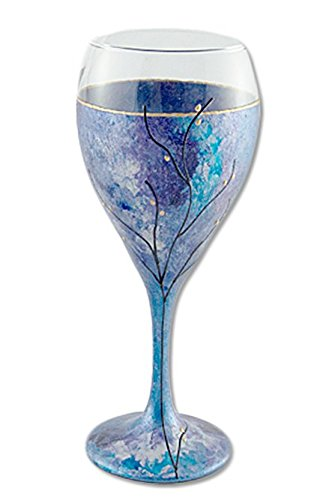 "Sand and Water Creations Hand Painted Kiddush Cup Wine Glass Tree of Life 7"" Purple Blue"
