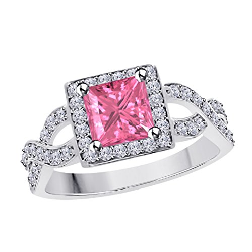 DS Jewels 2.00 Ct Princess Cut Halo Pave Eternity Ring Created Pink Sapphire & Cubic Zirconia Split Shank Engagement Ring in 14k White Gold Plated Alloy Size 4-12