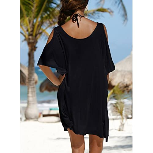 57f97b0676c47 lovely Avidqueen Women s Letters Print Baggy T-shirt Swimwear Bikini Cover  up Beach Dress