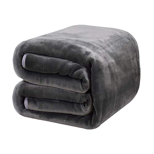 DREAMFLYLIFE Luxury Fleece Blanket 380GSM Winter Thick Blanket Super Soft Blanket Bed Warm Blanket Couch Blanket for All Season Dark Grey Queen-Size, 90x90 in