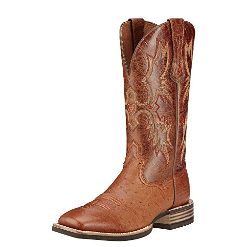 Ariat Mens Tombstone Smooth Quill Ostrich Exotics 9.5 D Brandy Smooth Quill Ostrich