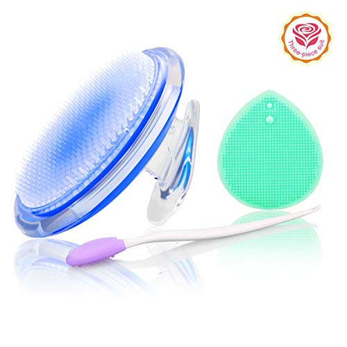 Exfoliating Brush For Razor Bumps and Ingrown Hair Treatment,Nose Cleaning Brush,Soft Silicone Blackhead Scrub Remover Brush,Silicone Face Scrubbers Set - Perfect for Dry Brushing,Body Brush (Blue)