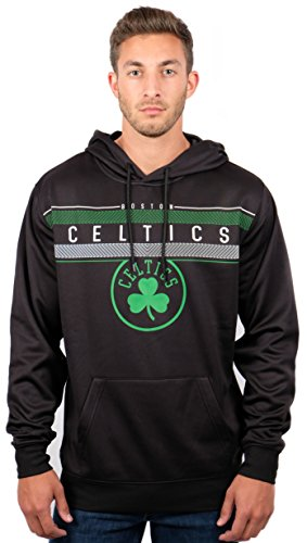 NBA Boston Celtics Men's Fleece Hoodie Pullover Sweatshirt Poly Midtown, Large, Black