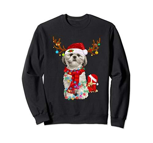 Funny Santa Reindeer Shih Tzu Christmas Lights Xmas Gift Sweatshirt (Christmas Tzu Sweater Shih)