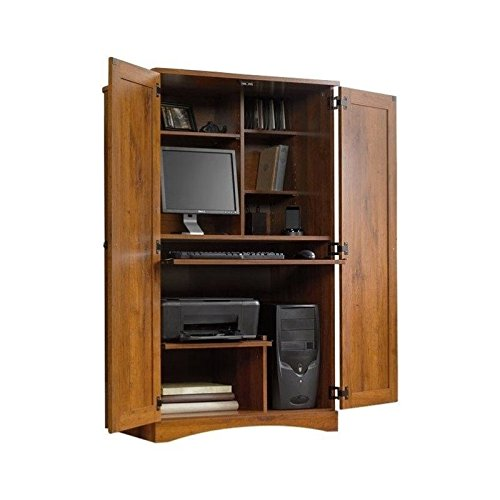 Oak Computer Armoire - Pemberly Row Computer Armoire in Abbey Oak