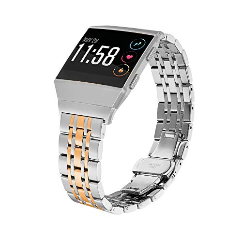 Shangpule Compatible for Fitbit Ionic Bands, Stainless Steel Metal Replacement Strap Bracelet Wrist Band Accessories for Ionic Smart Watch Women Man Large Small (Silver + Gold)