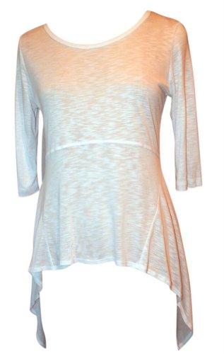 K & C Tops T-shirt Jade or White Slub Knit Shirts Size Small (White)