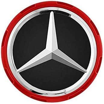 Lot de 4 enjoliveurs pour Mercedes Couleur : Rouge Diam/ètre ext/érieur : 75 mm Pi/èce de Rechange pour Jantes en Alliage. Diam/ètre int/érieur : 71 mm