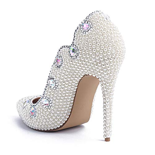 Evening Prom For High Toe Shoes Bride Pointed Colored Pearl Diamond Party White Heeled Ladies Women Wedding Stiletto Elegant Shoes Pumps w7BavqnF