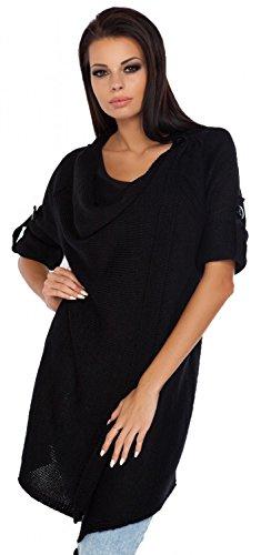 Glamour Empire Womens Knitted Warm Coat Waterfall Blazer Long Wrap Cardigan 349 (Black, 8/12)