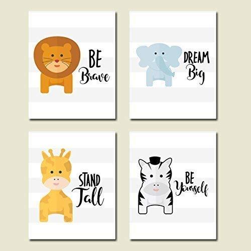 Nursery Animals CANVAS Art Wall Decoration Set of 4