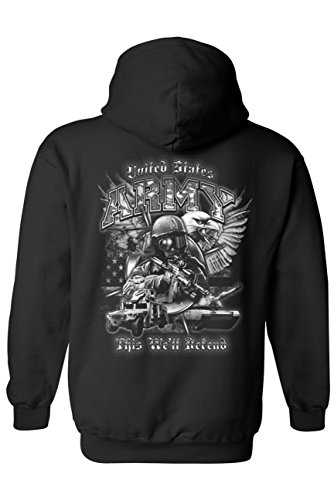 Unisex Zip Up Hoodie United States Army This We'll Defend: Black ()