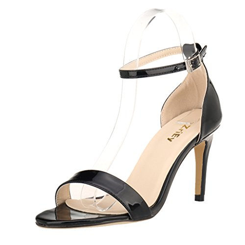 Ankle Strap Patent Leather Sandals - 4