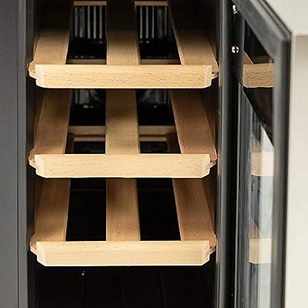 MaxxHome - Frigorífico para vino con puerta de cristal (8 botellas, estante de madera, 52 x 25,4 x 46,5 cm)