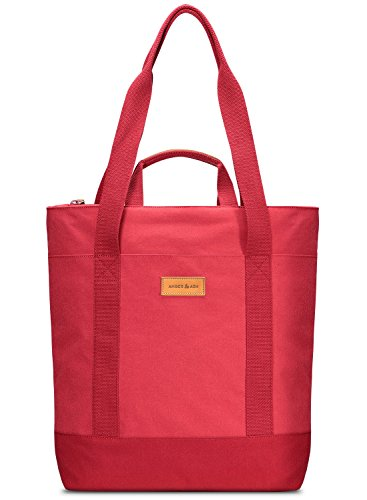 Convertable Bag (Laptop Tote Backpack, AMBER & ASH Convertable Water Resistant Shoulder Hand Bag for 13 inch Macbook Notebook Tablet iPad Pro with Multiple Pockets for School Travel [Red])