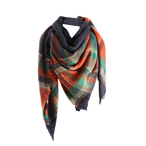 Big Promotion!!! ☀☀Maonet Women Winter Warm Color Stitching Long Wool Shawl Plaid Soft Neck Scarf (Orange)