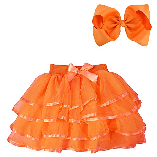 BGFKS 4 Layered Tulle Tutu Skirt for Girls with Hairbow or Birthday Sash,Girl Ballet Tutu Skirt (Orange, 2-3 Years) -