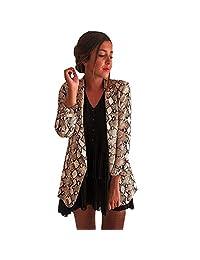Cuekondy Women's Long Sleeve Open Front Leopard Print Blazer Classic Draped Snake Print Office Blazer Suit Jacket Coat