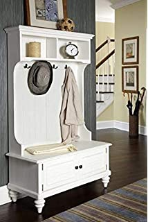 Hall Trees with Bench and Coat Racks - White Wood with Four Hooks Open Closed Storage
