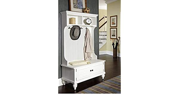 Amazon.com: Hall Trees with Bench and Coat Racks - White ...
