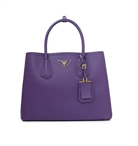 PRADA Saffiano Leather Tote Handbag Violet
