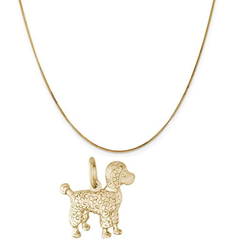 Rembrandt Charms 14K Yellow Gold Poodle Dog Charm on a 14K Yellow Gold Curb Chain Necklace, 20