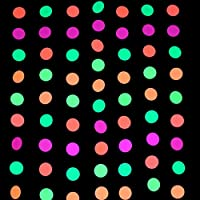 Midnight Glo 78ft Neon Paper Garland Circle Dots Hanging Decorations for Birthday Party Wedding Decorations Black Light Reactive UV Glow Party 6 Pack