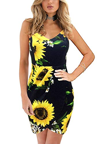 Yikomi Women's Elegant Straps Deep V Neck Sleeveless Floral Summer Casual Bodycon Party Dress (XS, Navy Flower) ()
