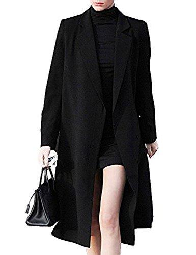 Bqueen Women's Black Lapels Double-Breasted Wool Blend Coat BQ12976-7A (XL, Black) (Women Wool For Coat Black)