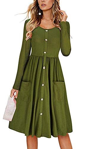 ECHOINE Vintage Army Green Long Sleeve Buttons Down Office Lady Midi Dress