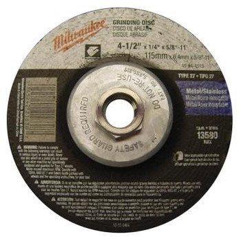 (MILWAUKEE ELECTRIC TOOL 49-94-4515 Type 27 Grinding Wheel 4-1/2 x 1/4 x 5/8-11 by Milwaukee Electric Tool)