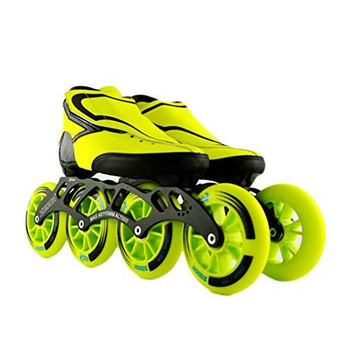 戸口撃退するハプニングNUBAOgy インラインスケート、90-110ミリメートル直径の高弾性PUホイール、2色で利用可能な子供のための調整可能なインラインスケート (色 : Green, サイズ さいず : 44)