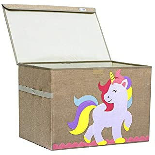 Hurricane Munchkin Large Toy Chest. Canvas Soft Fabric Children Toy Storage Bin Basket with Flip-top Lid. Princess Baby Girl Toy Box for Girls and Toddler Nursery (Unicorn)
