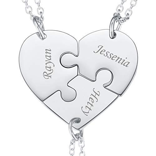 U7 BFF Necklace for 2/3/4 Stainless Steel Chain Personalized Family Love/Friendship Jewelry Set Free Engraving Heart Pendants (Set of 3 Stainless Customized)