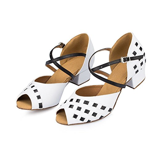 TDA Dance Wedding Latin Sandals Ballroom Strap Party Women's Satin Cross Studded White Tango xrqfwSYOr