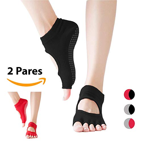 Dos pares de Calcetines Antideslizantes, antiderrapantes para Yoga, Pilates, Bikram (hot yoga) y Barre Life Balance. Calcetas...