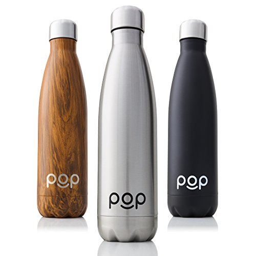 Stainless Steel Vacuum Insulated Water Bottle by POP Design | Keeps Cold 24hrs. or Hot for 12hrs. | Sweat & Leak-Proof | Narrow Mouth & BPA Free | 17 Oz (500ml) | Titanium