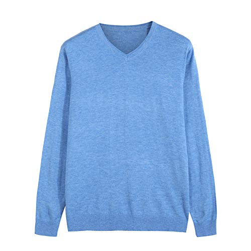 Winter New Knitted Pullover Men Cashmere Sweater Men's Casual V-Collar Sky Blue L