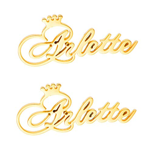 Style Earrings Name - LONAGO 925 Sterling Silver Personalized Custom Engraved Name Stud Earrings with Crown, Customize Your Own Earring with Name (Style 1-Sterling Silver (Gold))