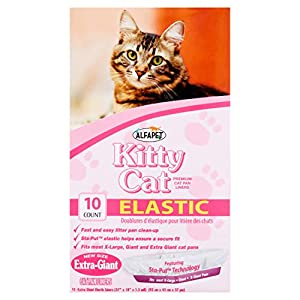 Alfapet Kitty Cat Pan Disposable, Elastic Liners- 10-Pack-For Large, X-Large, Giant, Extra-Giant Size Litter Boxes- With Sta-Put Technology for Firm, Easy Fit- Quick + Clever Waste Cleaners, Pack of 6